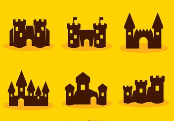 Silhouette Cartoon Fort Castle Vectors - Free vector #160357