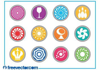 Round Icons Set - vector #160537 gratis