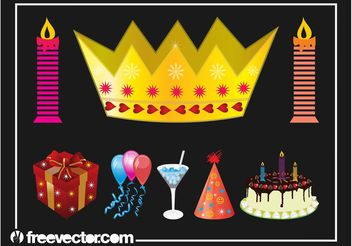 Birthday Party Graphics Set - Free vector #160567
