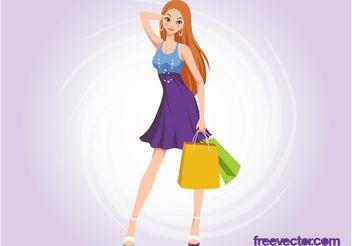 Shopping Girl Vector - Free vector #160667