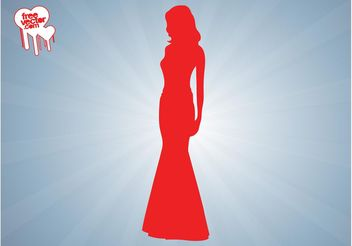Elegant Woman Silhouette Graphics - Free vector #160687