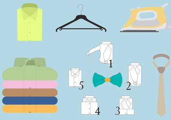 Vector Set of Colored Folded Shirt and Different Accessories - Free vector #160917