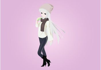 Cute Manga Girl - Free vector #160997