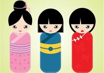 Kokeshi Dolls - Free vector #161017
