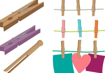 Clothespin Vector Set - Free vector #161097