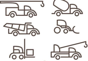 Simple Outline Trucks Icons Vector - Free vector #161337