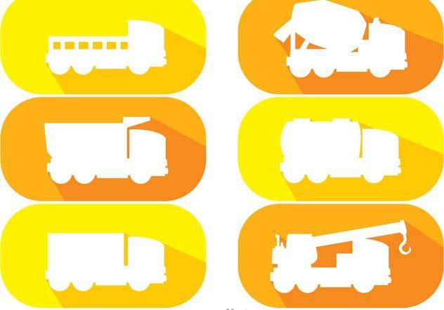 White Silhouette Dump Trucks Vector Pack - Free vector #161477