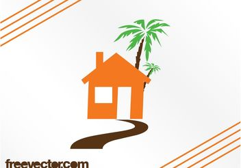 House And Palm Tree - vector gratuit #161877