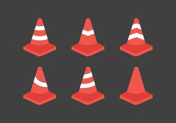 Orange Cone Vector Pack - Free vector #162187