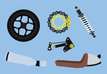 Motorcycle Part Vectors - vector gratuit #162347
