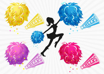 Colorful Pom Pom Cheer Girl - vector gratuit #162797