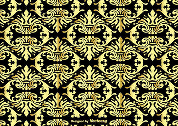 Gold Seamless Damask Ornament Pattern - Free vector #162807