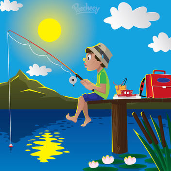 Boy Fishing on Lake Cartoon - Free vector #162977