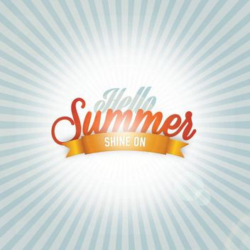 Shiny Hello Summer Poster Template - vector gratuit #162987