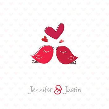 Hand Drawn Lovebirds Wedding Invitation - Free vector #163127