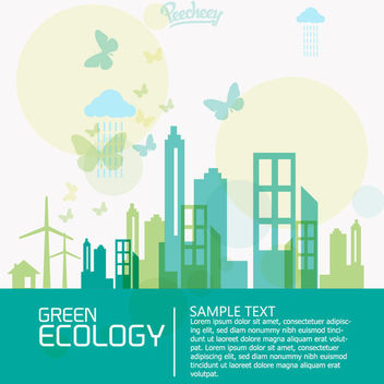 Flat Minimal Ecology City Concept - Free vector #163157