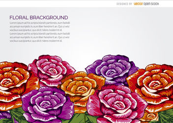 Drawn flowers background - vector gratuit(e) #163227