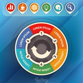 Colorful Circular Infographic with Icons - vector #163297 gratis