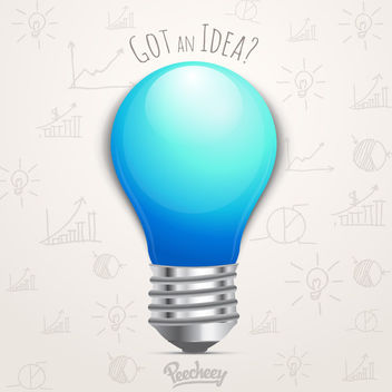 Idea Bulb with Hand Drawn Diagrams - vector gratuit #163307