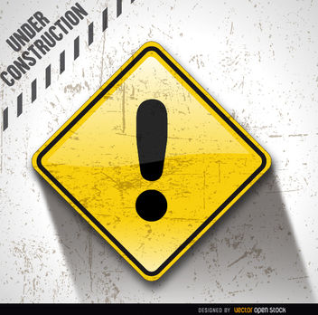Under construction dirty exclamation - Free vector #163377