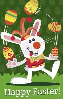 Easter Jester rabbit juggling - Free vector #163597