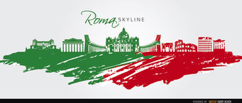 Rome skyline painted flag - vector gratuit #163747