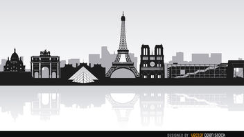 Paris skyline landmarks - vector gratuit #163787