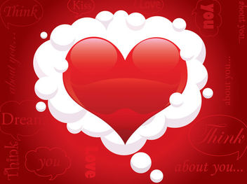 Heart Cloud Red Valentine Background - vector gratuit(e) #163827