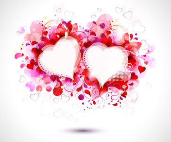 Splashed Swirls Hearts Valentine Card - vector gratuit #163837