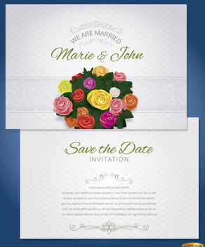 Bunch flowers marriage invitation sleeve - vector #163887 gratis