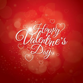 Bokeh Light Decorative Typography Valentine Card - vector gratuit #163897