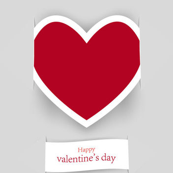 Paper Cut Labeled Heart & Note Valentine Card - vector gratuit #163917