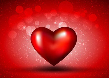 3D Glossy Heart on Bokeh Red Background - Free vector #163947