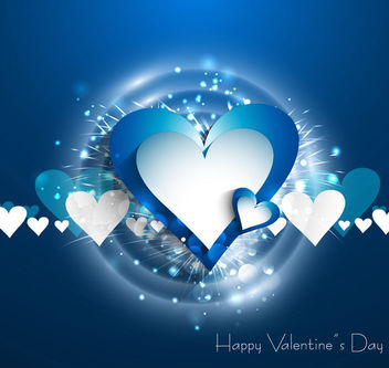 Stylish Splashed Hearts Valentine Background - vector gratuit #163987