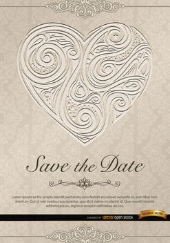 Heart swirls invitation wedding - Free vector #164007