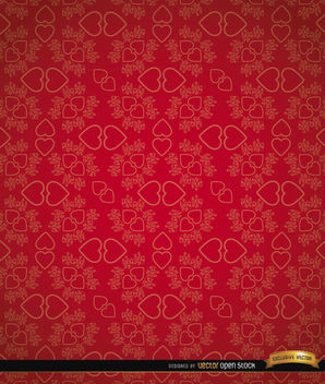 Red heart pairs floral pattern - vector gratuit #164057