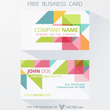 Colorful Polygonal Design Business Card Template - Free vector #164157
