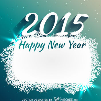 Snowflake Banner 2015 New Year Card - Free vector #164167