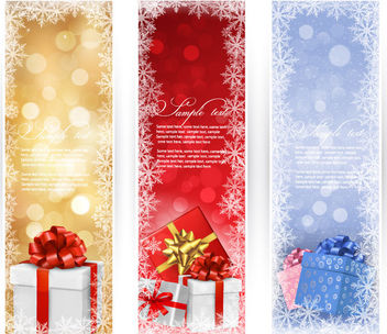 3 Christmas Brochures with Gift Boxes - vector gratuit #164177
