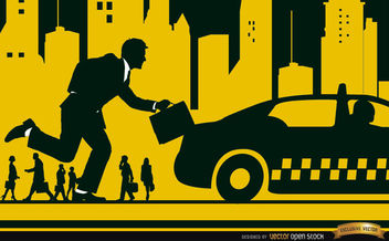Executive running taxi in the city - vector gratuit #164187