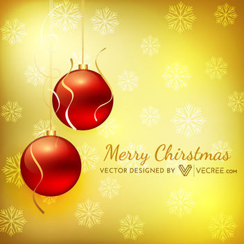 Red Baubles Hanging on Golden Xmas Background - Free vector #164327