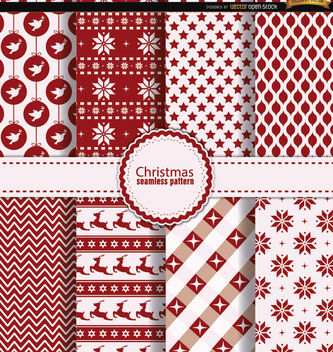 8 Christmas seamless patterns red white - Free vector #164347