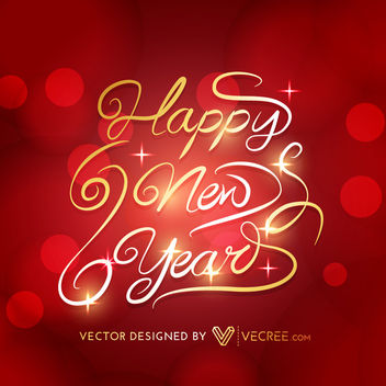 Creative New Year Gold Typography Red Background - Kostenloses vector #164367