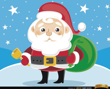 Cartoon Santa Claus cowbell - vector gratuit #164387