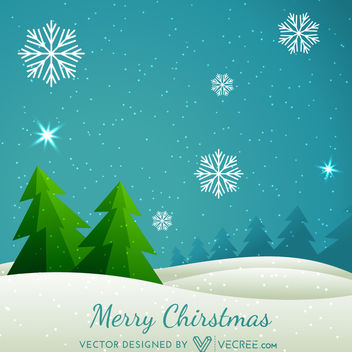 Abstract Xmas Tree on Snowy Landscape Background - Free vector #164417