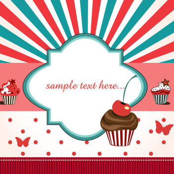 Funky Birthday Card with Cupcake - vector #164467 gratis