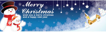 Blue Xmas Banner with Cute Snowman - vector gratuit #164587