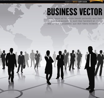 Executive workers world map background - vector gratuit #164617