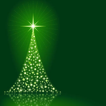 Sparkling Christmas Tree on Green Background - vector gratuit #164707