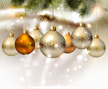 Shiny Christmas Balls Hanging with Tree Branches - Free vector #164727